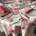 "Square organza tablecloth, cherry  blossom ""Cherry tree"" pink"