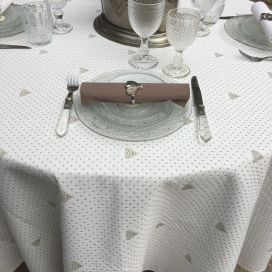 "Round tablecloth cotton and polyester ""Abeillons"" off-white and beige"