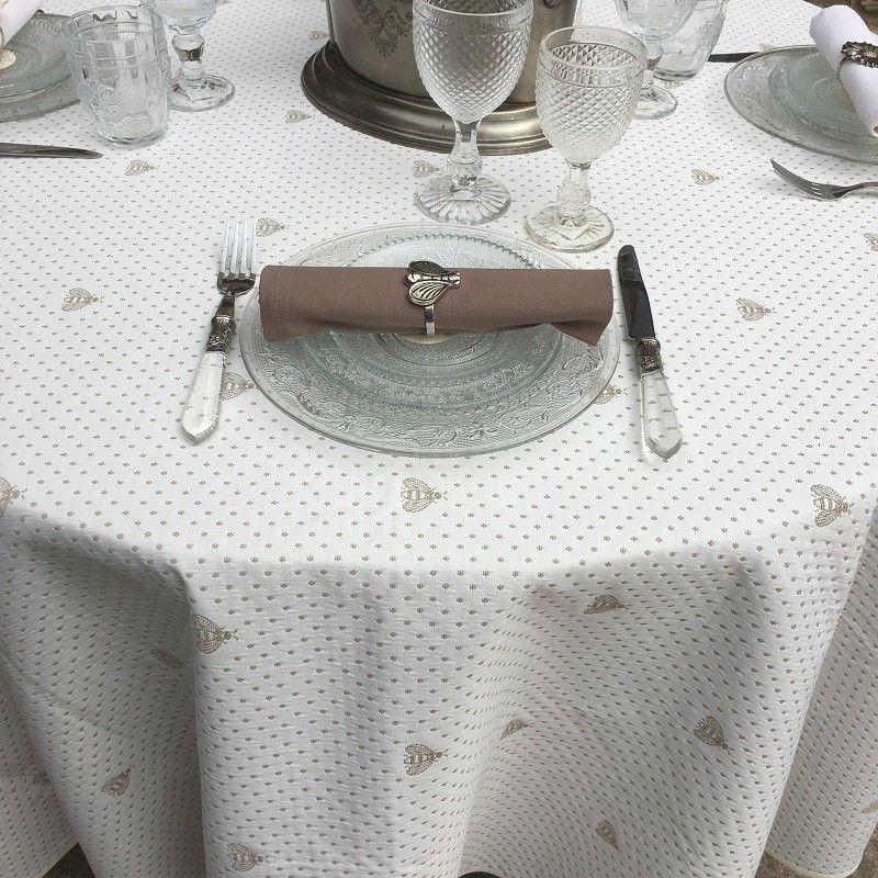 """Nappe ronde coton et Polyester """" Abeillons""""  écrue et beige"""