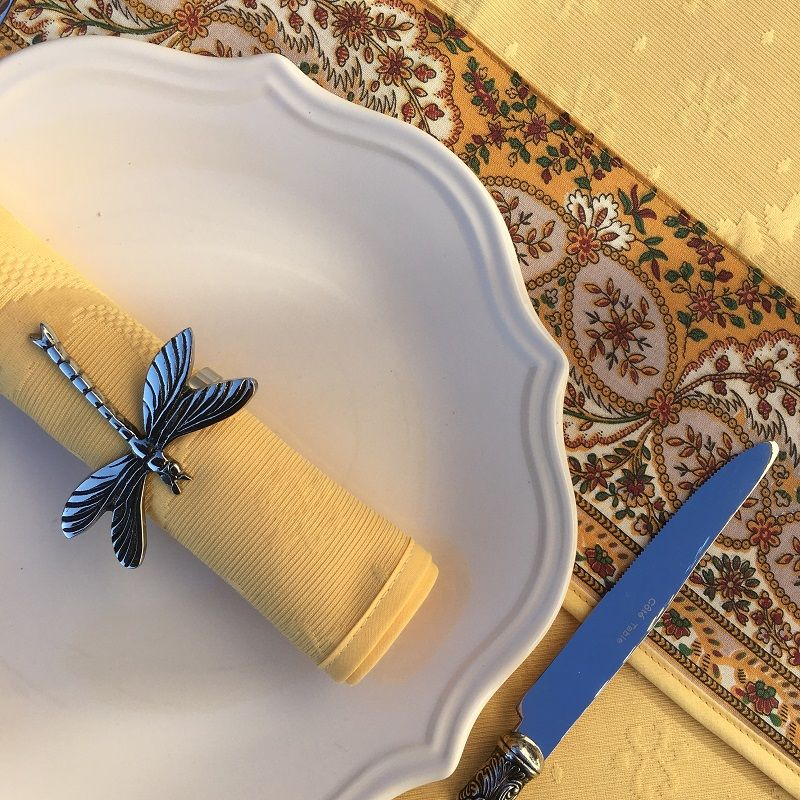 "Damasked Jacquard table napkin ""Delft"" yellow"