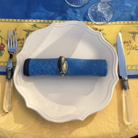 "Serviette de table damassée ""Delft"" bleu"