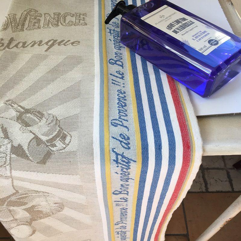 """Jacquard kitchen towel """"L'apéritif de Marseille"""" by Tissus Toselli"""