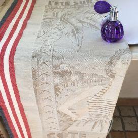 """Jacquard kitchen towel """"La Côte d'Azur"""" by Tissus Toselli"""