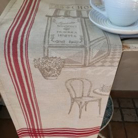 "Jacquard kitchen towel ""Bistrot Parisien"" by Tissus Toselli"