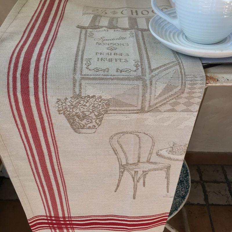 """Torchon de cuisine en jacquard """"Bistrot Parisien"""" Tissus Toselli"""