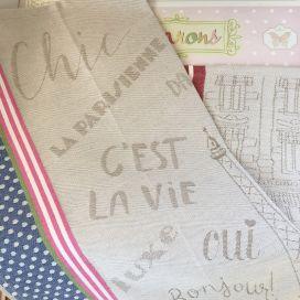 """Torchon de cuisine en jacquard """"Paris"""" Tissus Toselli"""