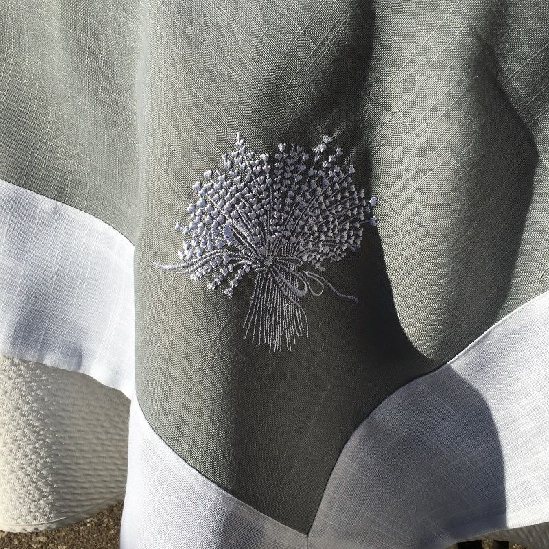"Linen and polyester tablecloth ""Lavandière"" Grey linen and white bordure"