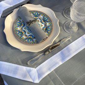 """Chemin de table lin et polyester """"lavandes brodées"""" lin bordure blanche"""