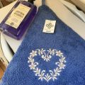 "Embrodery round hand towel ""Heart"" blue"