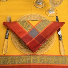 "Serviette de table ""Lavandière"" orange et rouge"