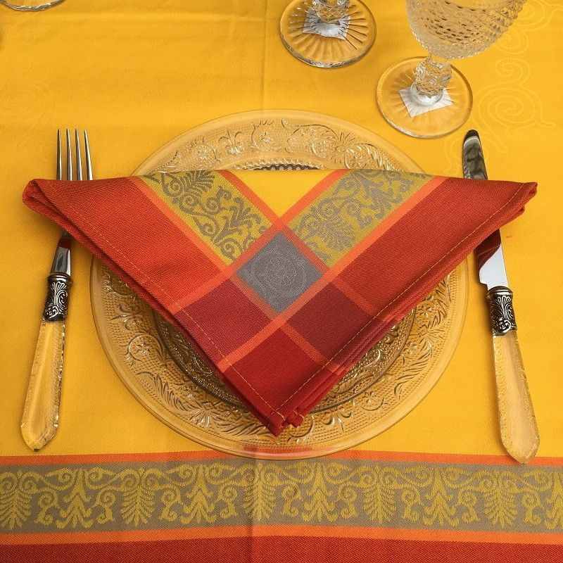 """Serviette de table """"Lavandière"""" orange et rouge"""