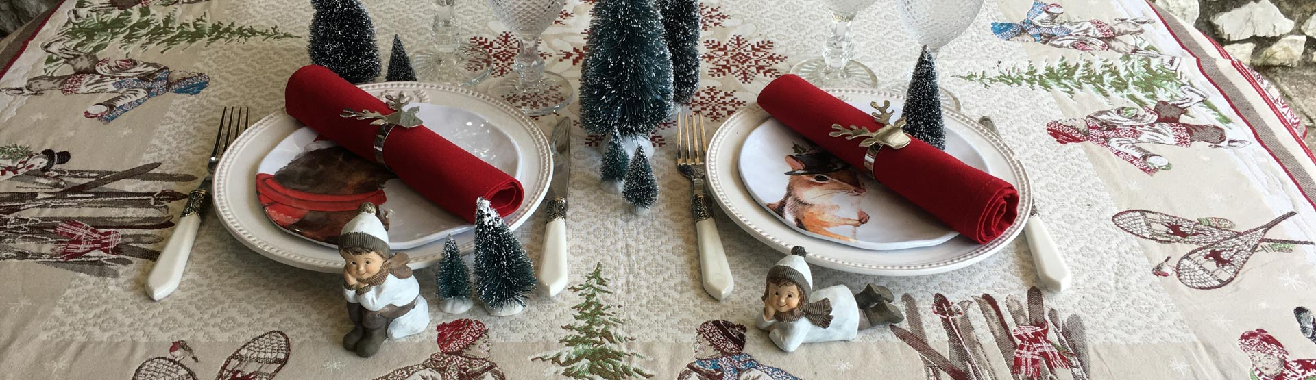 Mountain and winter house linens